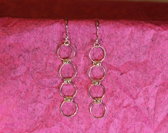 Earrings Circle Three in One Handmade Solid Sterling Silver