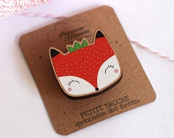 Brooch * forest Princess * / Fox / badges / FSC Wood / Green / jewelry / cute / gift / girl