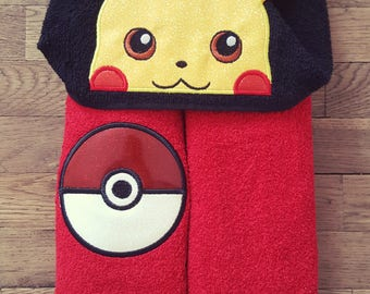 Pikachu Pokémon Inspired Hooded Towels