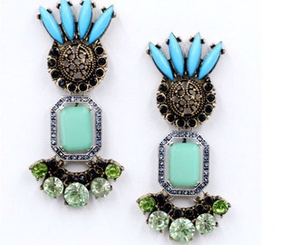 Earrings gem turquoise