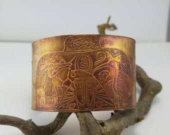 Copper Cuff~Egyptian Design Bracelet~Etched Egyptian Cuff~Egyptian Jewelry~Etched Copper Bracelet~OOAK Statement Bracelet~Gift for Her