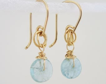 Aquamarine Disc Gemstone Earrings - 14k gold filled, 925 sterling silver - Sky Blue Gemstone Jewelry