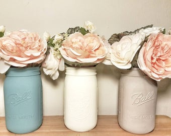 Blue and Grey Mason Jars -  Rustic Wedding Table Decor- Bridal Shower - Engagement Party Table - Baby Shower Decorations - Shabby Chic Decor