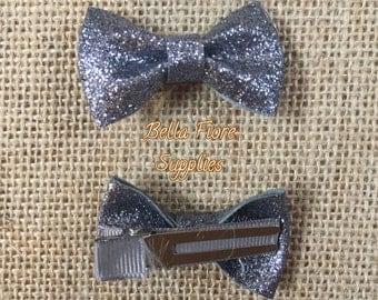 Gray Glitter Bow with Clip- 2 Inch Hair Clip-  Mini Glitter Hair Clip- Glitter Bow- Glitter Hair Clip- Wholesale Hair Clips