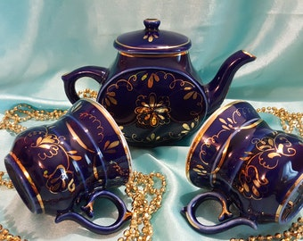 "Coffee-tea set ""Cobalt gold"" 3 pieces Russian Porcelain VERY RARE!!"