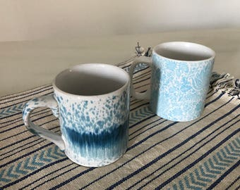Set of Two Ceramic Coffee Mugs - Blue Ceramic Coffee Mugs - Coffee Cups