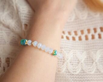 Opalite Bracelet, Opalite Gold Bracelet, Boho Gifts for Her, Bracelet for Her, Girlfriend Gifts, Gift for Girlfriend, Boho Glass bracelet,