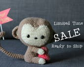 Kiko the CROCHET MONKEY with Valentine HEART, Poseable Crochet Stuffie - Baby shower, nursery, birthday  (modified design of AllAboutAmi)