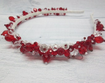 Wedding Red Bridal tiara Red and White Red Headpiece Red Jewellery Party outfits Red accessories White accessories Red wedding Bridesmaid