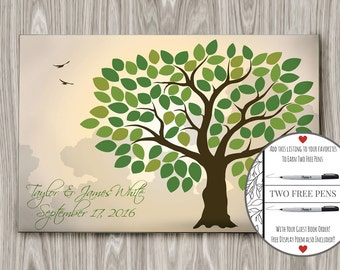 Wedding Guest Book Alternative, Wedding Guestbook Tree, Wedding Guest Book Canvas, Spring Guest Book, (175 to 300 guests) 24 x 36 inch