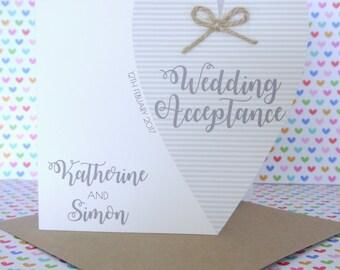 Beautiful Personalised Handmade Wedding Acceptance Card