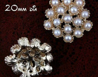 5 buttons - 20mm gold with Pearl flactback