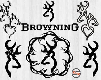 Browning svg, dxf, Browning logo, deer, hunting, outdoors, deer head svg, png, ountry, silhouette, cricut download, cut file, transfer