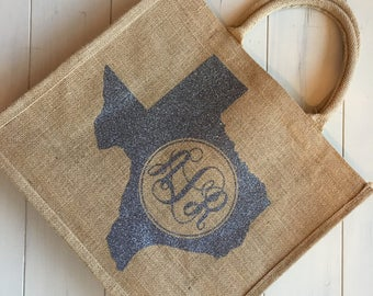 Personlized Burlap State Tote Bags