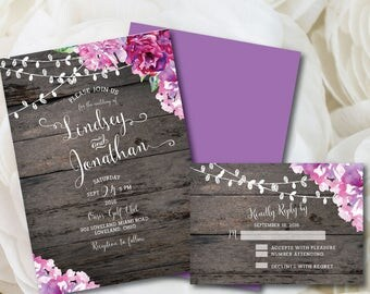Purple Wedding Invitation, Rustic Wedding Invitation, Printable Wedding Invitation, Purple, Wedding, Invitation, Printable, DIY, Floral