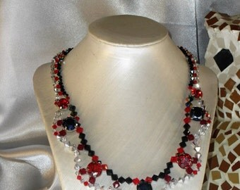 Duchess Necklace: red, black and silver Svarovski Crystal