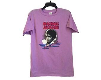 Vintage 1984 Michael Jackson Thriller Lilac T-Shirt Medium/Large FREE SHIPPING!