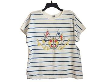Vintage Striped Nautical Sailor Anchor/Life Preserver Ladies T-Shirt Large/XL FREE Shipping!
