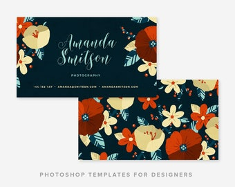 Calligraphic Floral Business Card Template | Business Card Template | Business Card Design | Digital Photoshop Template | INSTANT DOWNLOAD