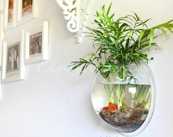 "Unique Wall Deco Acrylic Bubble Beta Fish Aquarium/Planter or Decorative for Glass/Rocks/ColorSand 8""Diameter"