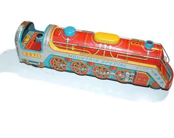 Vintage 1960s Tin Toy Train, Made in Japan, Tin Lithograph, Vintage Toys, Vintage Christmas Toys, Early Toys, Battery Operated Train
