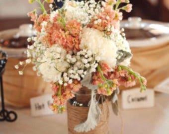 Twine Wrapped Ball Mason Jars, Wedding Centrepieces, Isle Decorations, Vintage, Rustic