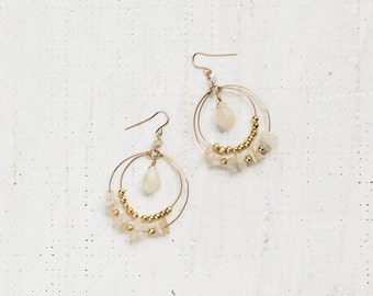 Layered Moonstone Hoops
