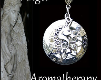 Essential Oil Diffuser Silver Unicorn Necklace Young Living Doterra Aromatherapy
