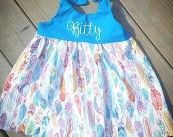 feather dress, blue monogram dress, feather monogram dress, tie top monogram dress, rainbow feather dress