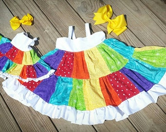 Rainbow dress, rainbow patchwork dress, rainbow outfit