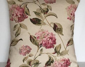 "1 x 16"" (40cm x 40cm)Laura Ashley Hydrangea Pink/Natural Cushion Cover"