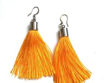 Tassel Earrings - Flame Orange