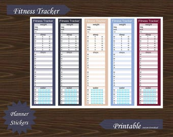 Sidebar Fitness Exercise Water Steps Sleep Weight Tracker Erin Condren Planner Printable Instant Download #P018-3