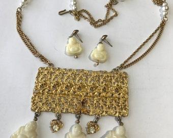 Pendant Necklace  - Dangle Earrings - Buddha - Costume jewelry