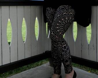 Plus Size Leggings - Black Leggings with Brown Mandala Designs for Women, Printed Leggings, Camel Yoga Pants