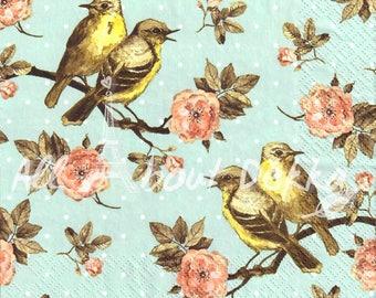 Decoupage Napkins Set of 4 - Vintage Birds & Flowers, Sunflower, Collage of 4 Designs of Paper Napkin, Serviettes, Scrapbooking, Mixed Media