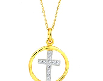 Silver Cross Pendant With Cubic Zirconia's