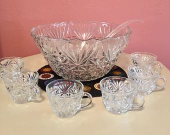 Vintage Anchor Hocking Pressed Glass Punch Set