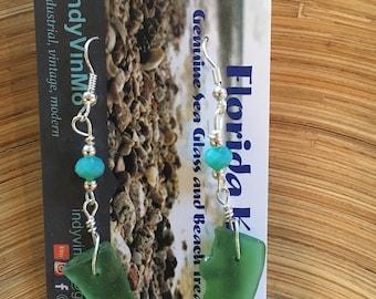 Genuine Florida Keys Green Sea Glass Earrings