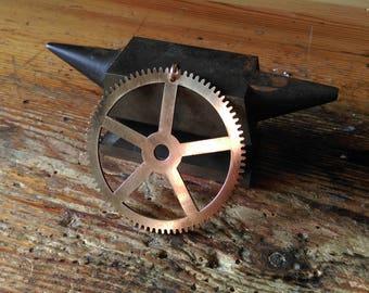 Steampunk big gearwheel pendant cog brass gear cogwheel clockwork