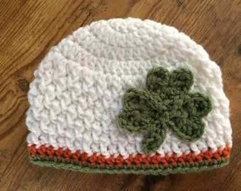 St. Patrick's Day Crochet Hat -Lucky Beanie - Shamrock Hat - Toddler - Baby - Women - Winter- Texture Hat - Irish Hat - Clover - Irish Cap