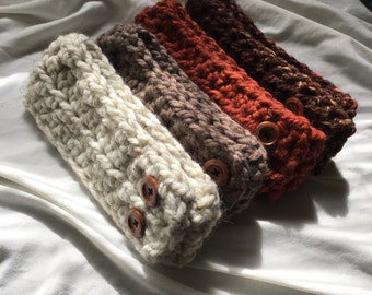 Ready to ship//Knit headband earwarmer with buttons//THE BELLA//