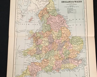 1885 Map of England and Wales, Original 9x11 Map, Antique Color Map