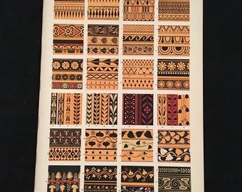 Greek (Vase Ornaments) No. 3 - Original Owen Jones Print, Grammar of Ornament, Vibrant Color Lithograph, Vintage Decor