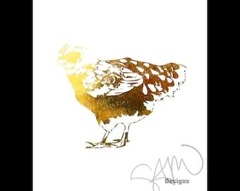 Golden Morning Hen Shiny Metallic Gold Chicken Print