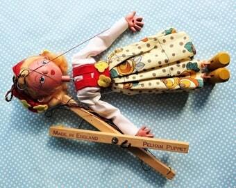 Pelham Puppet Tyrolean girl, handmade marionette from the 1960s