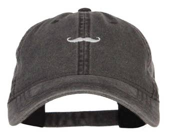 Mini Mustache Embroidered Washed Cap