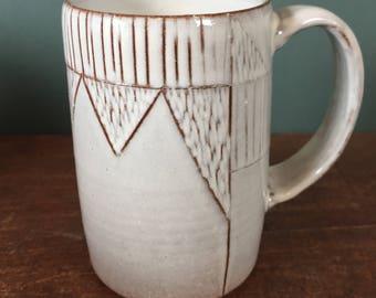 Handmade White Mug with Carved Design