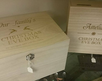 Personalised large Christmas eve box - laser engraved wood treats memory keepsake night before Christmas