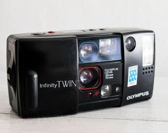 Olympus Infinity Twin - functional vintage 35 mm analog film camera for lomography, dual lens autofocus point & shoot for street + Handstrap